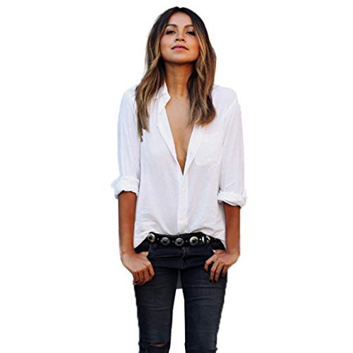 Rameng- Chemisiers Femmes Manches Longues Chic Blouses Tops Mode Col V (XL, Blanc)