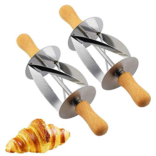 VinBee 2 PACK Croissant Cutter Roller,Croissant Maker Slices Cake Bread Rolling Dough Cutter with Wooden Handle Perfect Shape Pastry Dough, Rolling Knife Kitchen Baking Tools