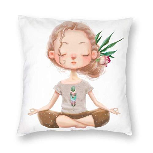N \ B Linda chica meditación yoga pose decoración almohada 45x45 pulgadas almohada cojín cuadrado con cremallera sofá hogar cama carro