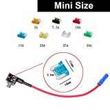 E-KYLIN Car Motor ADD Circuit Blade Style Fuse Adapter Cable Add-A-Circuit Fuse Holder APS ATT LOW PROFILE ATM LP FUSETAP TAP with 7 Fuses Set 5, 7.5, 10, 15, 20, 25, 30 AMPS - Mini Size