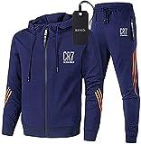 Aisigeren Chándal de gimnasio para hombre Cr-7 con chaqueta de rayas con capucha + pantalones de ocio, azul, XXL/XX