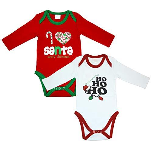OZYOL Body de Navidad para bebé, 2 Unidades, 100% algodón, Estampado con diseño de Papá Noel, Papá Noel, Papá Noel, Papá Noel, 3 - 24 Meses 2 Unidades 74