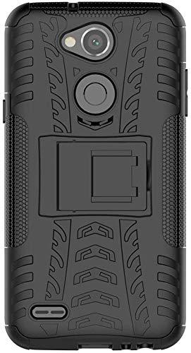 Sunrive Hülle Für LG X Power2, Tasche Schutzhülle Etui Hülle Cover Hybride Silikon Stoßfest Handyhülle Hüllen Zwei-Schichte Armor Design schlagfesten Ständer Slim Fall(schwarz)