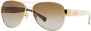 Coach Womens L138 Sunglasses (HC7059) Gold/Brown Metal - Polarized - 58mm