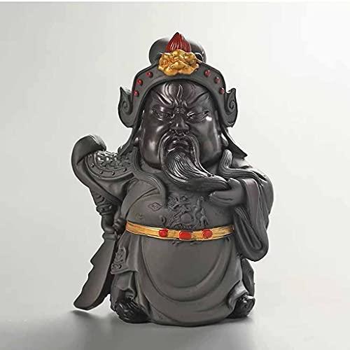 YUTRD ZCJUX Resina Color CAMBIANDO TE Adornos para Mascotas Oficina Decoración de Mesa Retro Guan Gong Artesanía Kung Fu Pequeña Ceremonia de té de estatuilla decolorada (Color : C)