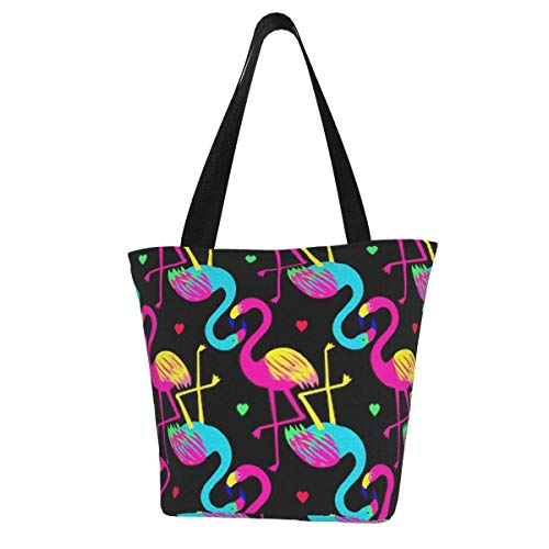Colorful Heart Flamingo Large Beach Bag Tote Bag Shoulder Bag Lightweight Diaper Bag for Gym Hiking Picnic Travel Beach Waterproof Tote Bags 11 X 7 X13 Inch