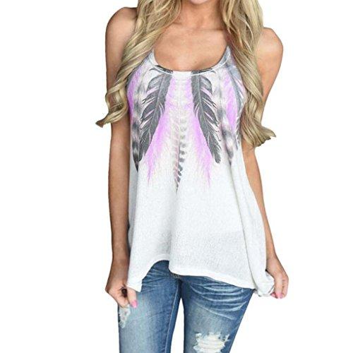 ESAILQ Frauen Feder Druck Sleeveless Hemd Bluse beiläufige O-Ansatz Tank Tops T-Shirt