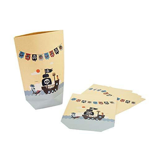Oblique Unique® Piraten Geschenktüten 6 STK. Pirat Papiertüten für Kinder Geburtstag Party Feier Piratenparty Mitgebsel
