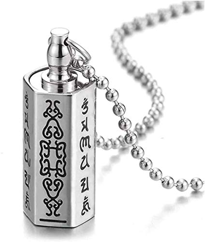 huangshuhua Caja de Pastillas cilíndrica de Acero, medallón de Almacenamiento conmemorativo, Collar con Colgante Hexagonal con Cabeza de Tornillo Tibetano