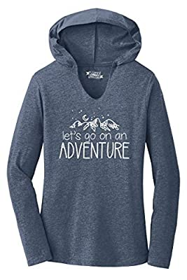 Ladies Hoodie Shirt Lets Go On an Adventure Navy Frost M