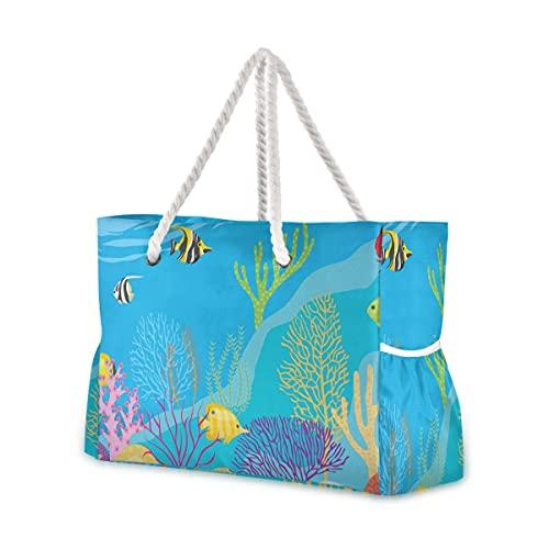 Bolsas de playa grandes Totes de lona Bolsa de hombro Sea World...