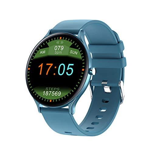 WEINANA Reloj inteligente con pantalla táctil de círculo completo, pantalla a color, para mujeres, hombres, pulsera inteligente, ritmo cardíaco, presión arterial, resistente al agua (color: D)