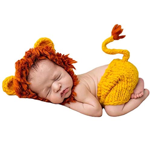 Sharely Sheep Newborn Photography Props Handmade Costume Baby Boy Photo Shoot Crochet Lion Hat+Pants Outfits Set Clothes