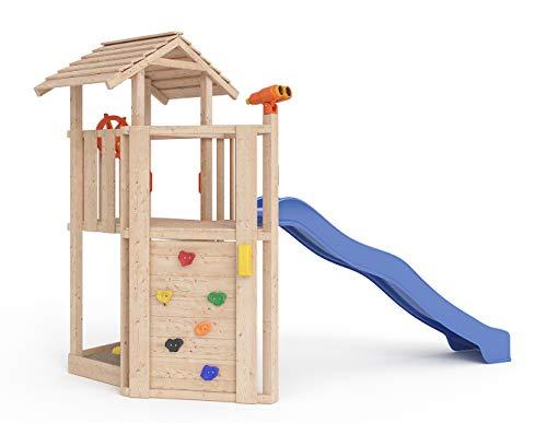 ISIDOR Little Joe Spielturm Baumhaus Schaukel Kletterturm Rutsche 1,2 m Podest Inkl. Sandkasten, Kletterwand und Anbau-Auswahl! (ohne Anbau)