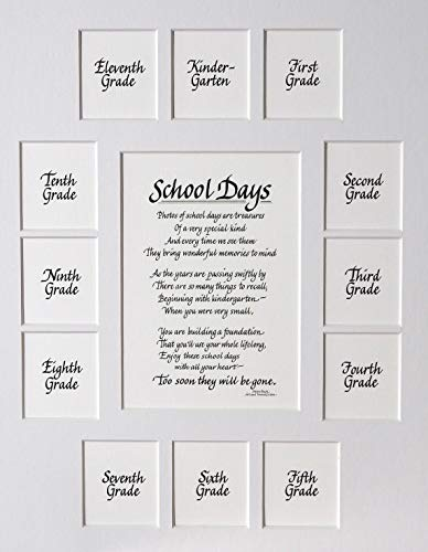 "All Things For Mom School Picture Mat with Classic Verse School Days on a White Mat (11"" x 14"")"