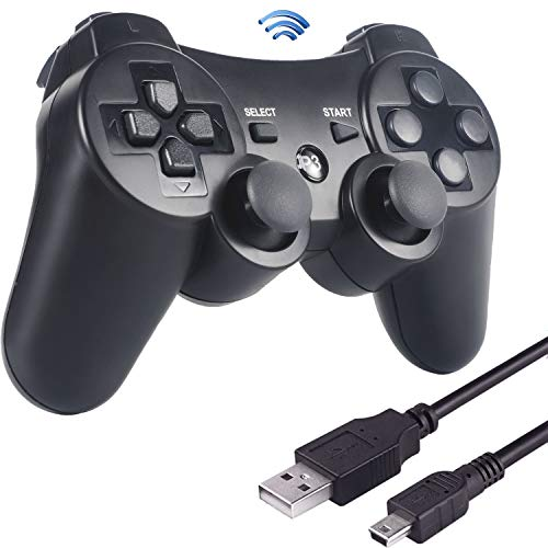 Sefitopher PS3 Wireless Controller Bluetooth Game Controller für Playstation 3 für PS3 Controller Gamepad Joystick Dual-Vibration 6-Achsen Joypad mit Ladekabel