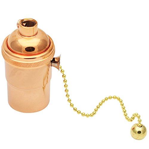 Preisvergleich Produktbild E27 Lampenfassung Kupfer Vintage mit Pull Kette für DIY Edison Pendelleuchte Hängelampe Halter Lampe Zubehör Roségold