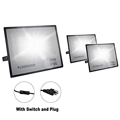 Floodoor 60W LED Flood Light 6000lm, 5000K Daylight White Floodlight IP66 Waterproof Outdoor Lights for Competitions Ddvertising Decorations,Playground,Warehouse,Garage [3 Pack]