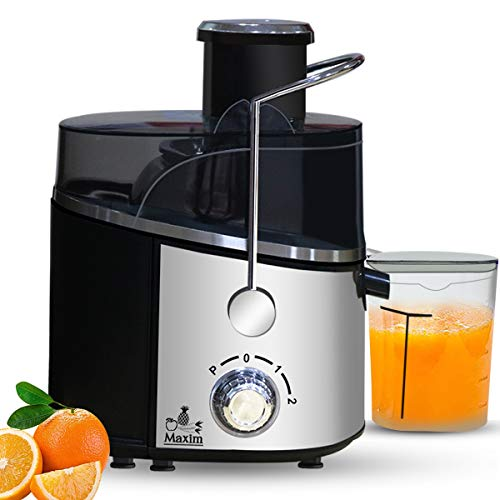 Inalsa Maxim Centrifugal Juicer-500 Watt with 60mm Wide Mouth & 2 Speed & Pulse Fuction |High Quality Stainless Steel Mesh |Includes Juicer Jar (400ml) and Detachable Pulp Collector, (Silver/Black)