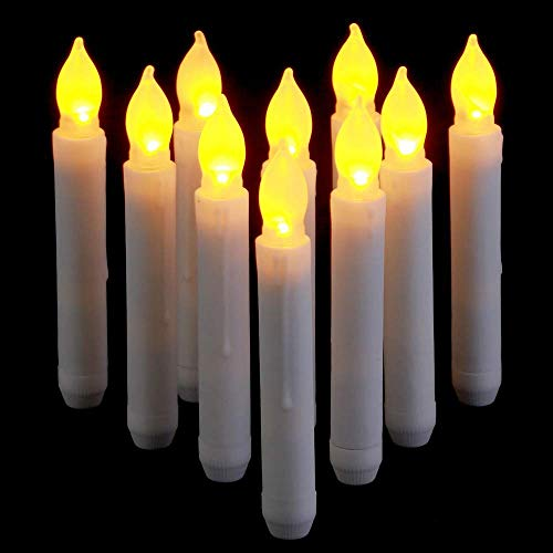 Supmaker LED Candle Light, 12PCS Battery Operated Flameless LED Taper Candles Light for Wedding Birthday Churches Party Decorations Yellow, 0.79 x 6.5 Inch