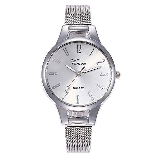 Damen Armbanduhr Ausverkauf 2019 LEEDY Frauen Fashion Minimalistisches Analog Quarz Uhren mit Edelstahl Mesh Sliber Casual Damenuhr Watch Geschenk
