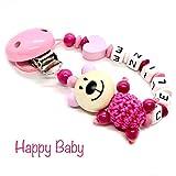 Schnullerkette mit Namen für Junge & Mädchen | VIELE INDIVIDUELLE MODELLE | Personalisierte Nuckelkette mit Wunschnamen (bär-rosa-herz)