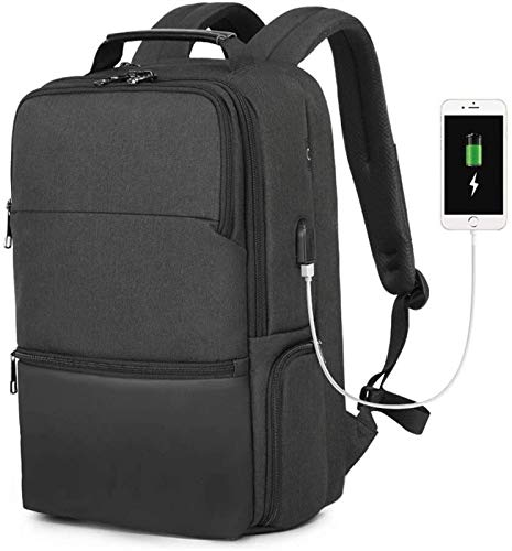 supermalls Laptop Backpack, Expandable and Large Capacity, Business Travel Backpack With USB Charging Port, Water Resistant Business Travel Backpack