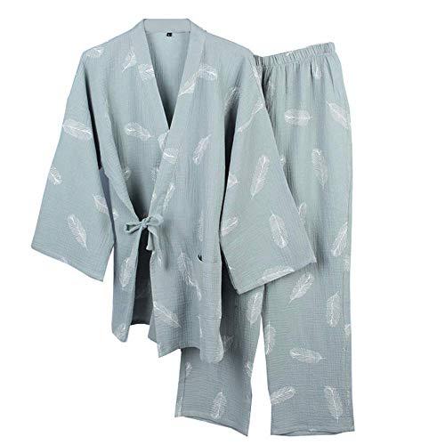 KANJJ-YU Japanischer Herren-Bademantel, Kimono, Pyjama, Nachthemd, dünn, Grün,...