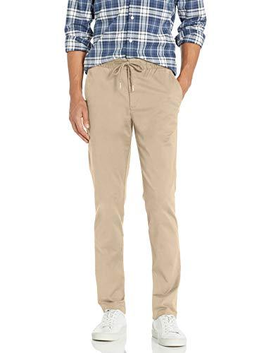 Amazon Brand - Goodthreads Men's Slim-Fit Washed Chino Drawstring Pant, Khaki Large/28