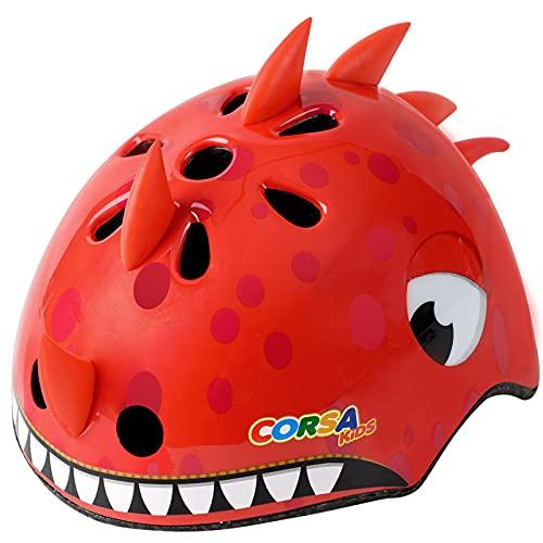 Kids Bike Helmet, Multi-Sport for Toddler and Children (Dinosaur Red)