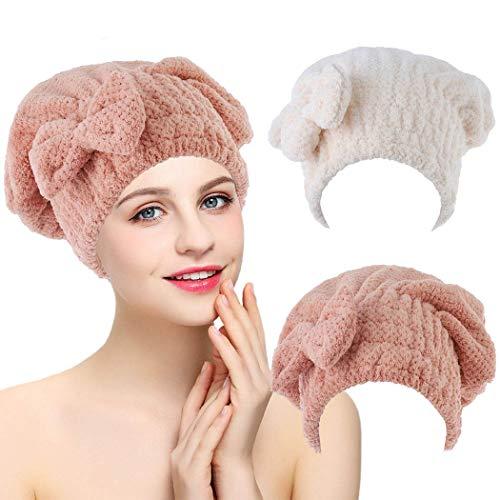 IYOU Toalla de pelo de microfibra rosa para el cabello, toalla de baño, salón, secado rápido, con botones, anti encrespamiento, productos para mujeres y niñas, cabello largo mojado