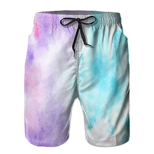 Amextrian Mens Quick Dry Swim Trunks with Mesh Lining,Blue Purple Watercolor Texture,Summer Surf Long Beach Pants Board Shorts Bathing Suits 4XL