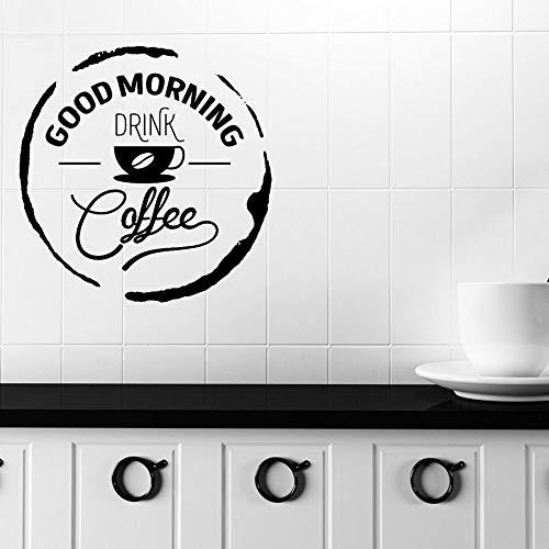 Tianpengyuanshuai Vinyl Wandtattoo Guten Morgen Worte Trinken Kaffee Fenster Aufkleber Küche Cafe Restaurant Dekoratives Wandbild 63X45cm