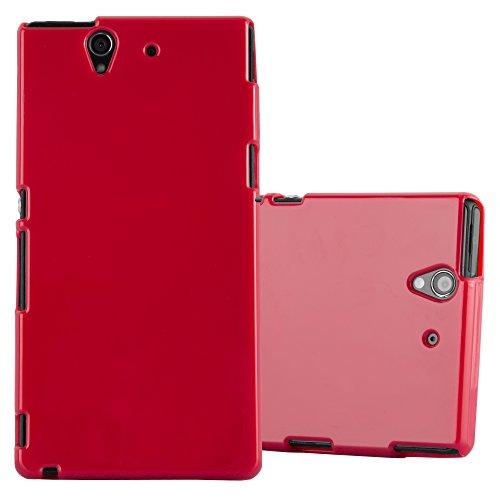 Cadorabo Funda para Sony Xperia Z en Jelly Rojo - Cubierta Proteccíon de Silicona TPU Delgada e Flexible con Antichoque - Gel Case Cover Carcasa Ligera