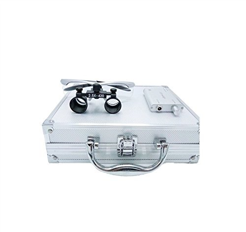 zgood portátil Surgical Medical Binocular Loupes 2.5× 420MM óptico gafas con caja de aluminio 3W LED lámpara faro +, plateado