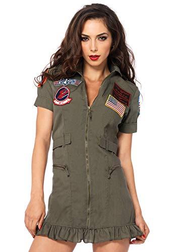 Leg Avenue Top Gun Flight Dress with Interchangeable Name Badges – Sexy Maverick Pilot Halloween Costume for Women, Green, Medium