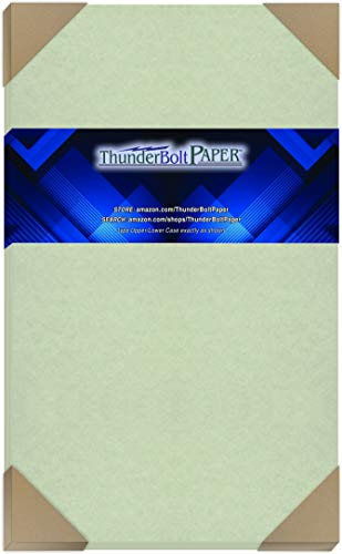 50 Light Green Parchment 60# Text (=24# Bond) Paper Sheets - 8.5 X 14 inches Stationery Paper Colored Sheets Legal Size - 60 Pound is Not Card Weight - Vintage Colored Old Parchment Semblance
