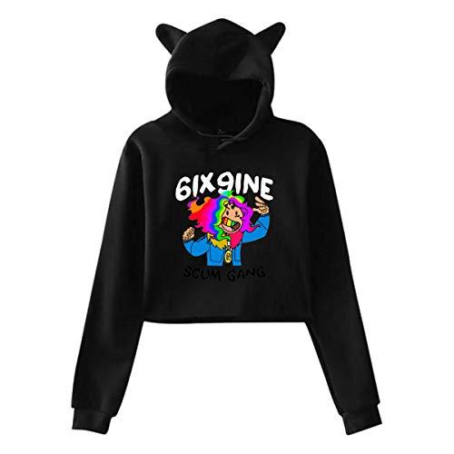 6ix-9ine-Scum-Gang Hooded Navel Crop Tops Cat Ear Pullover Hoodies Sweater Sweatshirt for Women