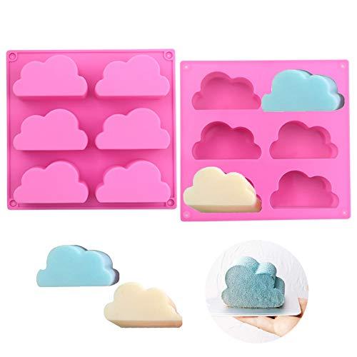 Molde silicona con forma nube Molde De Chocolate De Nube Silicona molde multifunción para pudín jabón Para hacer jabones muffins cupcakes chocolates galletas pudín pasatiempos creativos 2 piezas rosa