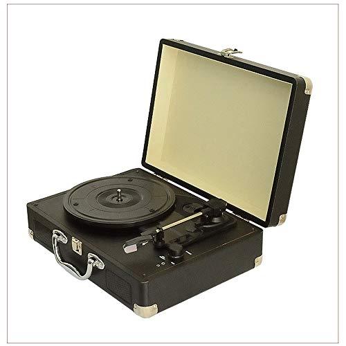 DAMAI STORE Vintage Vinyl Gramophone Aussehen PU Leder Aus Holz Dreieckförmigen Aluminiumrohrbewegung RubinAufnahmeFunktion PH/INT/BT Bluetooth-Stereo-Plattenspieler Plattenspieler Stereo-Bluetoot