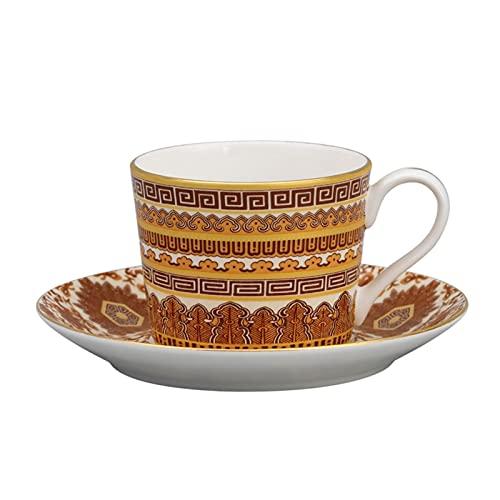 Cafe Mug Taza de cafe Juego de Tazas Classic retro diseño británico té té té hueso de china taza de café y platillo ligero lujo taza tradicional taza de té mejor conjunto de té colector 100ml tazas de