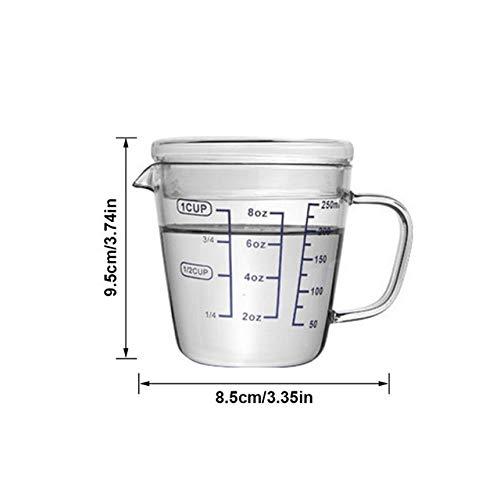 Tings Glazen Maatbeker Water Melk Eierdooier Maatbeker Hittebestendige Cup Met Deksel Schaal Handvat keukenmeetgereedschap, 250ml