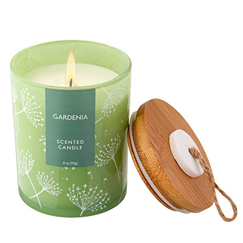 Large Candle Gardenia Scented Candle with Bamboo Lid for Home Aromatherapy Anniversary Bath Yoga Gifts, 25 Hours Long Burning, Paraffin Ivory Color Wax Weight 6z/170g