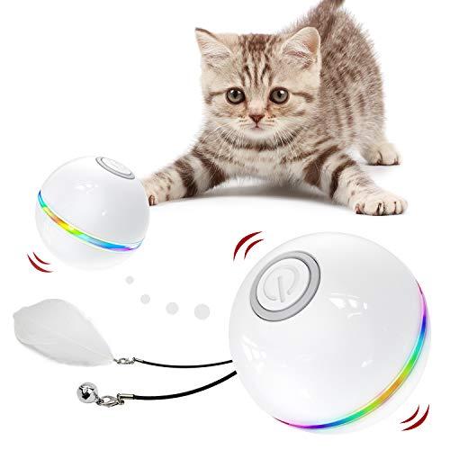 Iokheira Katzenball mit LED-Licht, Elektrisch Zwei-Farben Katzenspielzeug Ball interaktives Spielzeug für Katzen, selbstdrehender 360-Grad-Ball, wiederaufladbares interaktives Ball (Weiß-1)