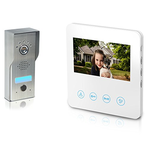 Video Door Phone with 4.3inch Monitor - Video Doorbell Intercom Kit 4-wires unlock function 1-Metal camera 1-monitor Night Vision Touch Button Screen - No Wi-Fi & APP (White)