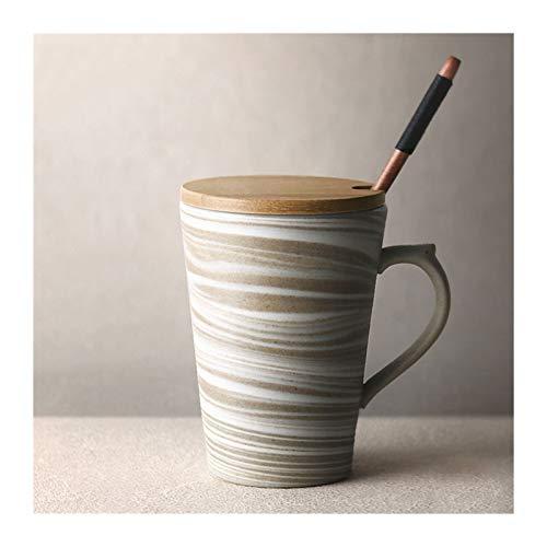 tazas desayuno 10.8 oz Patrón de mármol Tazas de cerámica con tapa de madera y cuchara larga Cucharada de taza de café de la taza de té de la taza de té for las mujeres amantes de las mujeres Regalos