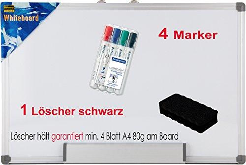 Idena 568024 - Whiteboard, mit Aluminiumrahmen und Stiftablage, inklusive 2 Schrauben, 40 x 30 cm (inkl. Marker + schwarzer Löscher)