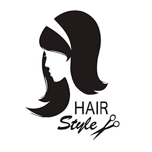 Barber Shop Wandaufkleber Vinyl Schere Sex Girl Haarschnitt Wandtattoo Innen Friseur Abnehmbare Frisur Beauty Salon 58X80Cm