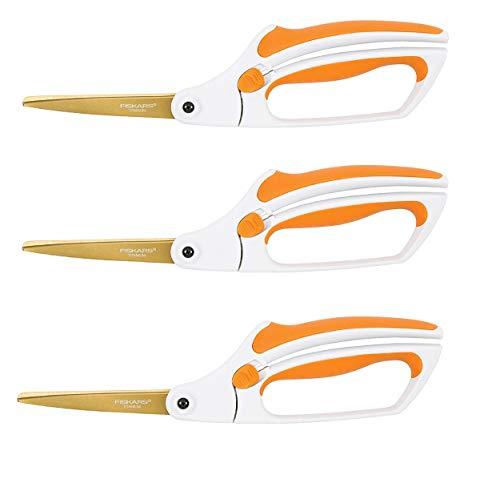 Fiskars 12-71787097J Titanium Easy Action Scissors, 10 Inch, Orange and White (3 Pack of 10 Inch Titanium)