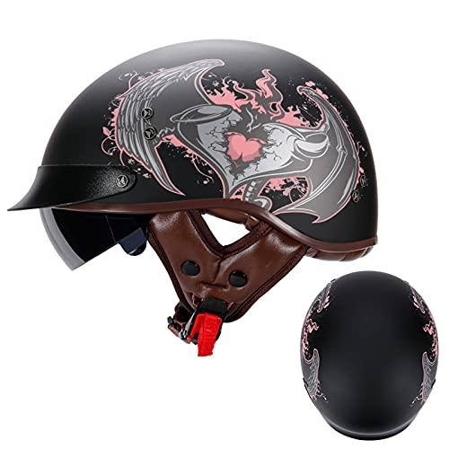 Casco Moto Abierto, Retro Cascos Moto Half Helmet con Visera, Casco Moto Jet Casco de Protección para Scooter Mofa Crash, ECE Homologado (Color : I, Size : L=(59-60CM))